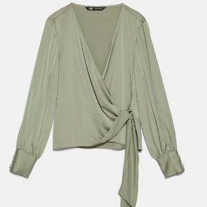 Knotted satin effect  blouse